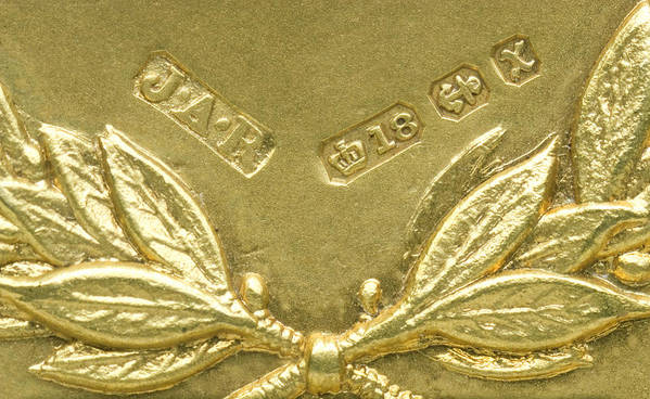Gold Print featuring the photograph Gold Hallmarks, 1897 by Sheila Terry