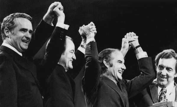 1970s Art Print featuring the photograph Us Elections. From Left Us Senator by Everett