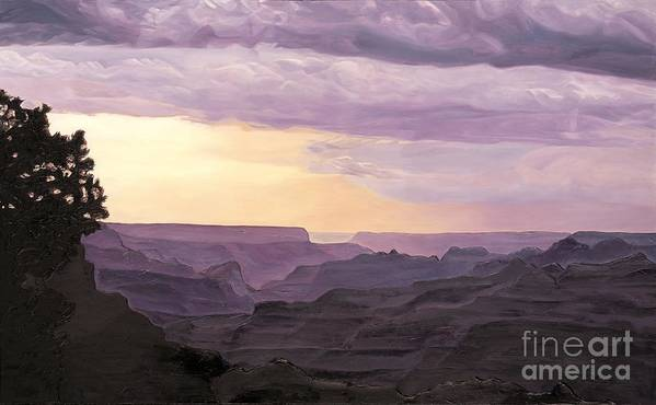 Grand Canyon Art Print featuring the painting Canyon At Dusk by Carina Mascarelli