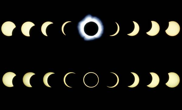 Eclipse Art Print featuring the photograph Composite Time-lapse Images Of Solar Eclipses by Dr Fred Espenak
