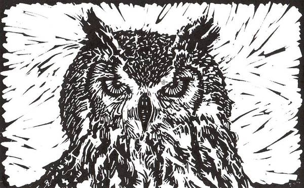 Owl Print featuring the mixed media Eagle Owl by Julia Forsyth