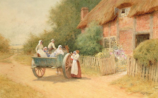 Horse And Cart; Cottage Garden; Rural; Countryside; Vernacular Architecture; Summer; Mother And Child; Baby; Thatched; Waving; Seeing Off Art Print featuring the painting Farewell by Arthur Claude Strachan