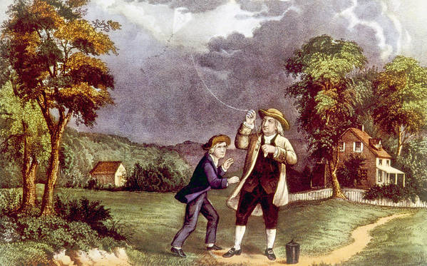 Currier & Ives Art Print featuring the photograph Franklins Experiment, June 1752 by Everett