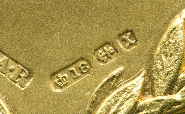 Gold Art Print featuring the photograph Gold Hallmarks, 1897 by Sheila Terry