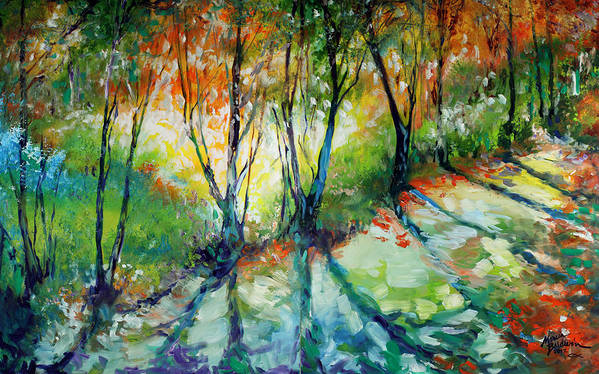 Trees Art Print featuring the painting Lake Forest Hills by Marcia Baldwin