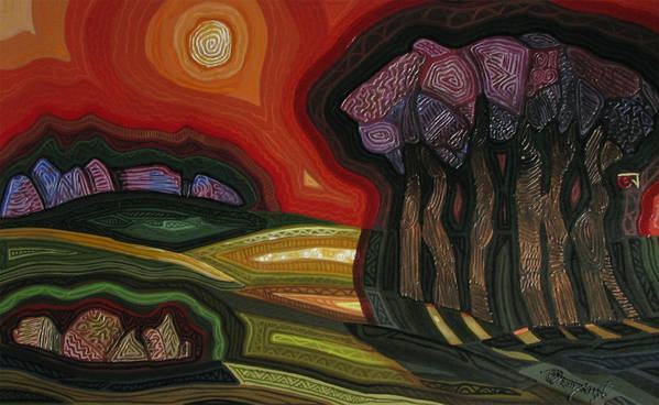 Landscape Art Print featuring the painting Mid Day by Tamojit Bhattacharya