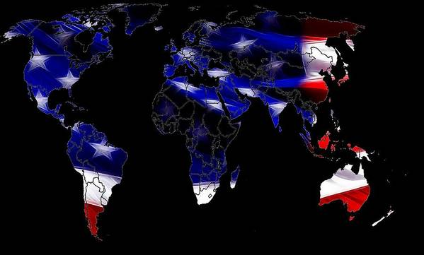 Map World Digital Art Atlas Country America Africa Asia Europe Australia Color Colorful Expressionism Impressionism Save American Usa Stars Stripes Flag Art Print featuring the digital art New World Map by Steve K