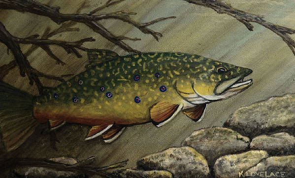 Fish Print featuring the painting October Glory by Kathy Lovelace