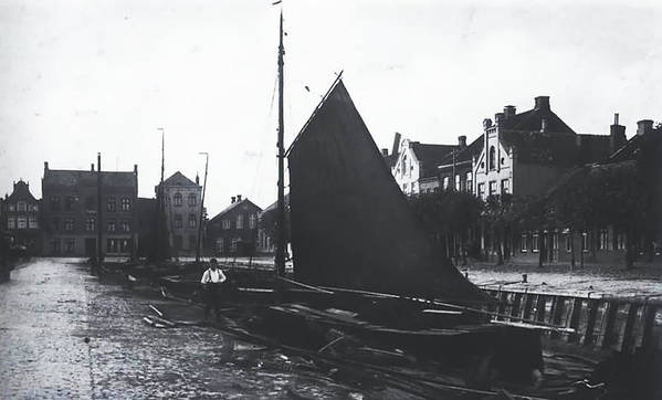 Vintage Old Harbor Germany 1880 Man Ship Boat Wooden Black White Bw Art Print featuring the photograph Old Harbor 1880 by Steve K