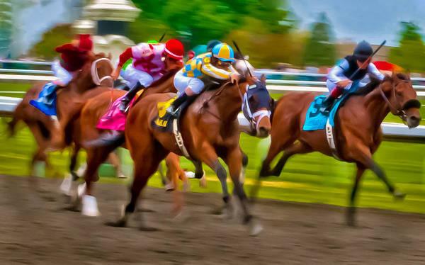 Horse Horses Race Races Racing Thoroughbred Jockey Keeneland Kentucky Motion Blur Blurred Photo Finish Art Print featuring the photograph Photo Finish by Richard Marquardt