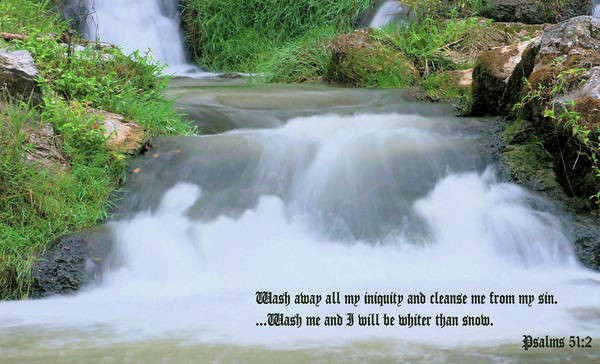 Waterfall Print featuring the photograph Psalm 51 2 by Kristin Elmquist