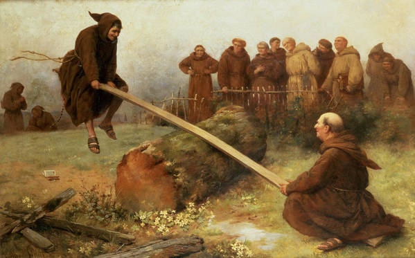 See-saw; Monk; Habit; Monks; Playing; Games; Game; Laughing; Laughter; Fun; Happy; Childlike Art Print featuring the painting Religion Was Never Designed To Make Our Pleasure Less by William Strutt