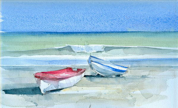 Sea Art Print featuring the painting Sabinillas Fishing Boats by Stephanie Aarons