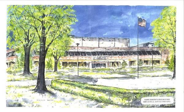 High School Art Print featuring the painting Saint Joseph Catholic High School by Patrick Grills