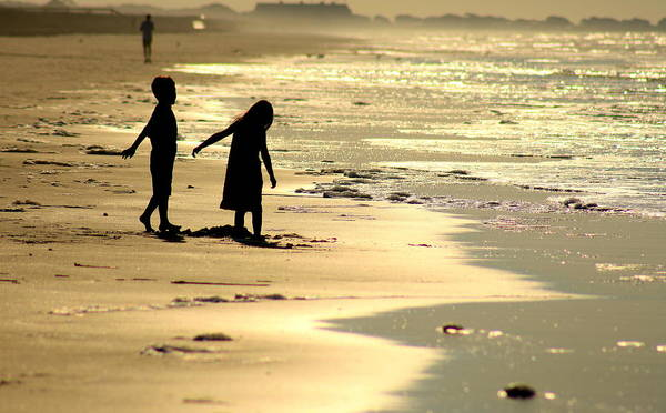 Children Art Print featuring the photograph Seaside Siblings by Charles Shedd