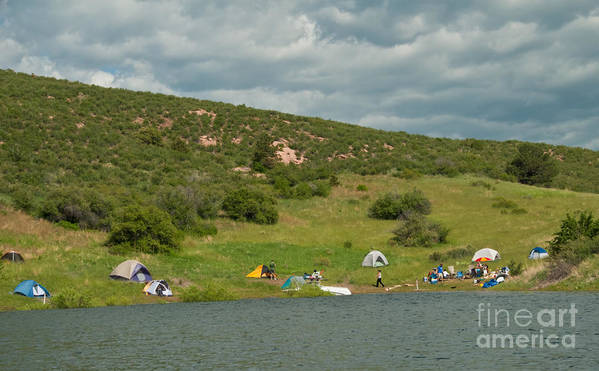 Horsetooth Reservoir Art Print featuring the photograph Tent Camping At Horsetooth Reservoir by Harry Strharsky