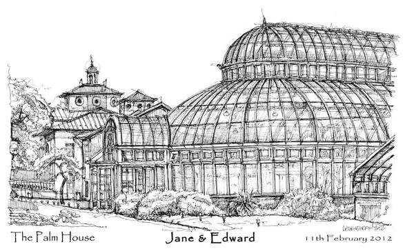 Palm Art Print featuring the drawing The Palm House For Jane And Edward by Building Art