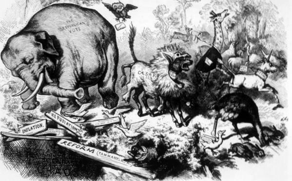 19th Century Art Print featuring the photograph Thomas Nast Political Cartoon That by Everett