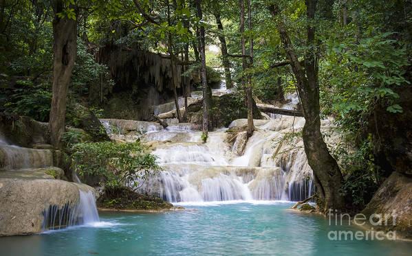 Thailand Print featuring the photograph Waterfall In Deep Forest by Setsiri Silapasuwanchai
