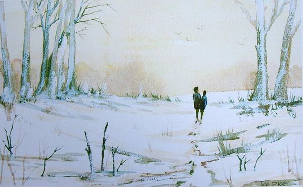 Snow Art Print featuring the painting Woodland Walk by Trudy Kepke