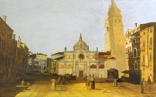 Landscape Art Print featuring the painting After Campo Santa Maria Formosa by Hyper - Canaletto