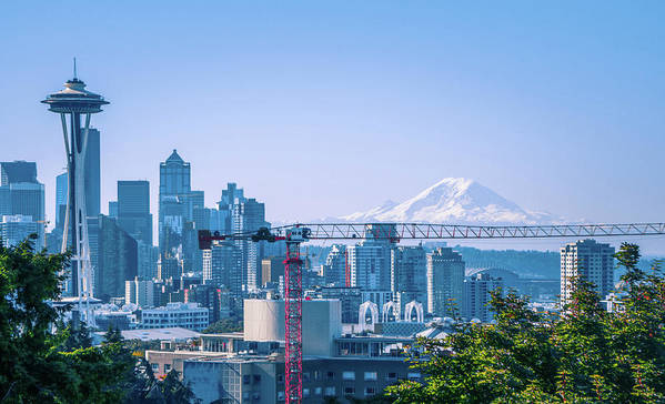 Sky Art Print featuring the photograph Downtown Cityscape View Of Seattle Washington by Alex Grichenko