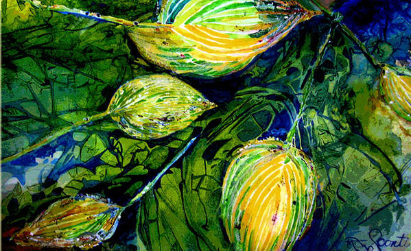 Leaves Art Print featuring the painting Indriel Blue Hosta by Mary Sonya Conti