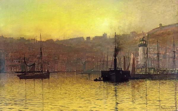 Nightfall In Scarborough Harbour Art Print featuring the painting Nightfall In Scarborough Harbour by John Atkinson Grimshaw