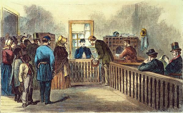 1866 Art Print featuring the photograph Va: Freedmens Bureau 1866 by Granger