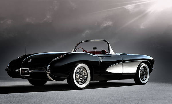 Classic Art Print featuring the digital art '56 Corvette Convertible by Douglas Pittman
