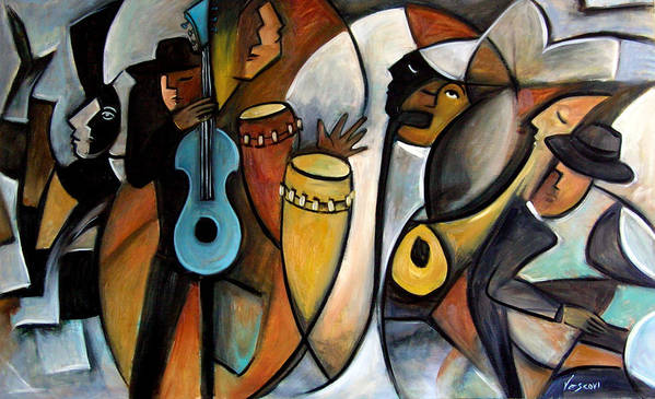 Latin Jazz Musicians Art Print featuring the painting Jazzz by Valerie Vescovi