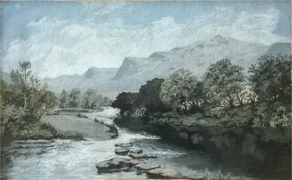 Nature Landscape Lake Mountains Water Art Print featuring the painting Serenity - Tranquil Stream by Ramagopal Gandlur