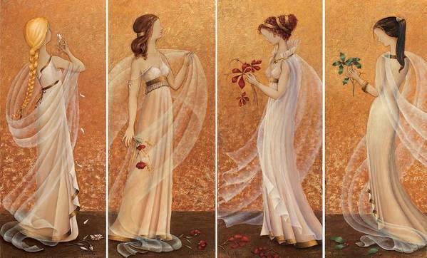 Season Art Print featuring the painting 4 Seasons by Barbara Gerodimou