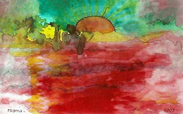 Sunrise Sea Painting Spiritual Rooma Mehra New Dawn Art Heal World Art Print featuring the painting A New Dawn.. by Rooma Mehra