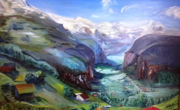 Swiss Alps In Summer Mountainscape Art Print featuring the painting A Place Touched By God by Alfred P Verhoeven
