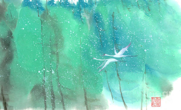 This Is A Contemporary Chinese Ink And Color On Rice Paper Painting With Simple Zen Style Brush Strokes. A Pair Of Graceful Cranes Flying In The Snowy Forest. Art Print featuring the painting A Quiet Song by Mui-Joo Wee