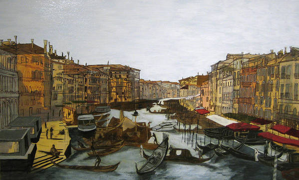Landscape Art Print featuring the painting After The Grand Canal by Hyper - Canaletto