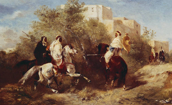 Arab Art Print featuring the painting Arab Horsemen by Eugene Fromentin