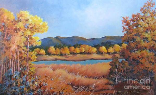 Landscape Art Print featuring the painting Autumn At Fraser Valley 2 by Marta Styk