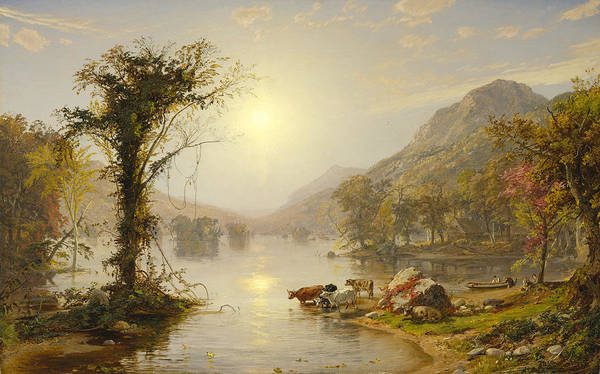 Autumn On Greenwood Lake By Jasper Francis Cropsey Art Print featuring the painting Autumn On Greenwood Lake by Jasper