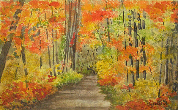 Autumn Art Print featuring the painting Autumn Woods by Ally Benbrook