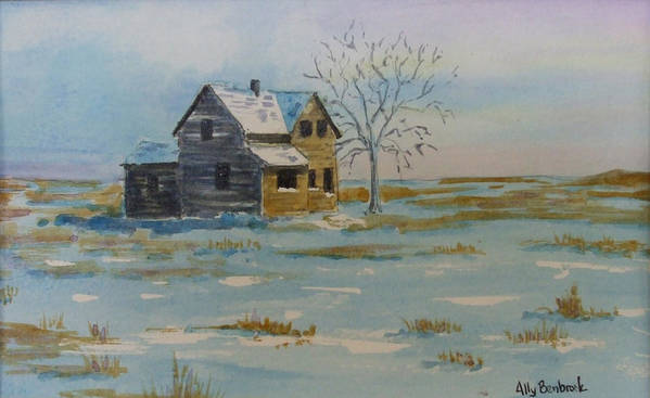 Abandoned Art Print featuring the painting Barren Prairie by Ally Benbrook