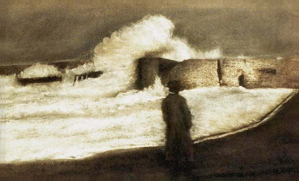 Pastel Art Print featuring the drawing Biarritz 1909 by Mushtaq Bhat