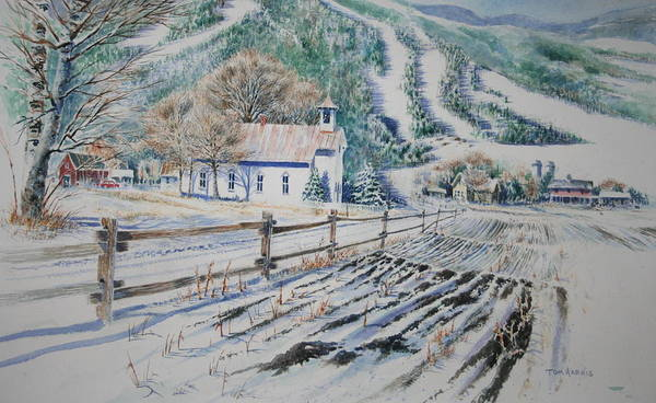 Landscape Art Print featuring the painting Blue Ridge Church by Tom Harris