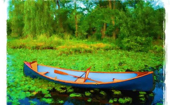 Row Boat On Bryant Pond Art Print featuring the painting Boat On Bryant Pond by Jonathan Galente
