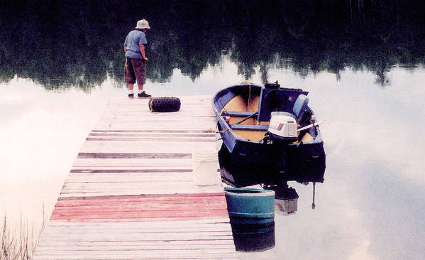 Landscape Art Print featuring the photograph Boy On The Dock Ae 2 by Lyle Crump