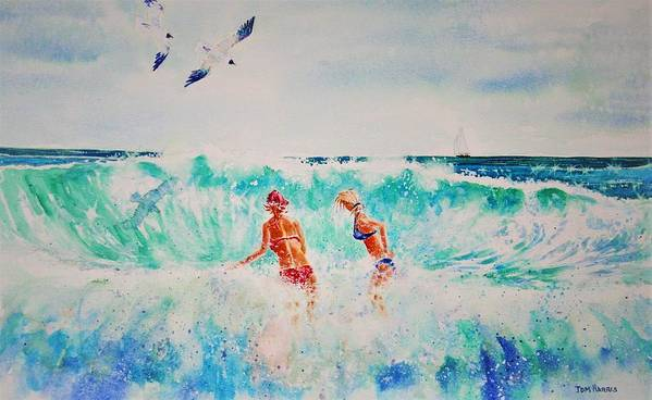 Surf Art Print featuring the painting Brooke And Carey In The Shore Break by Tom Harris