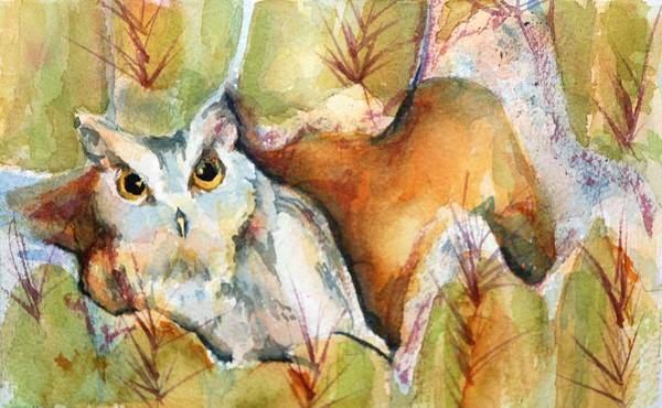 Watercolor Art Print featuring the painting Cactus Owl by Donna Pierce-Clark