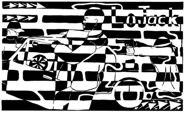 Lojack Art Print featuring the drawing Car-jacking Maze For Lojack Advert by Yonatan Frimer Maze Artist