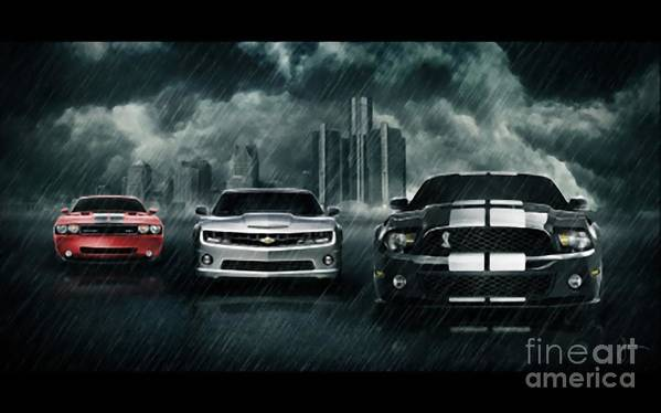 Nero Art Print featuring the painting Cars by Archangelus Gallery